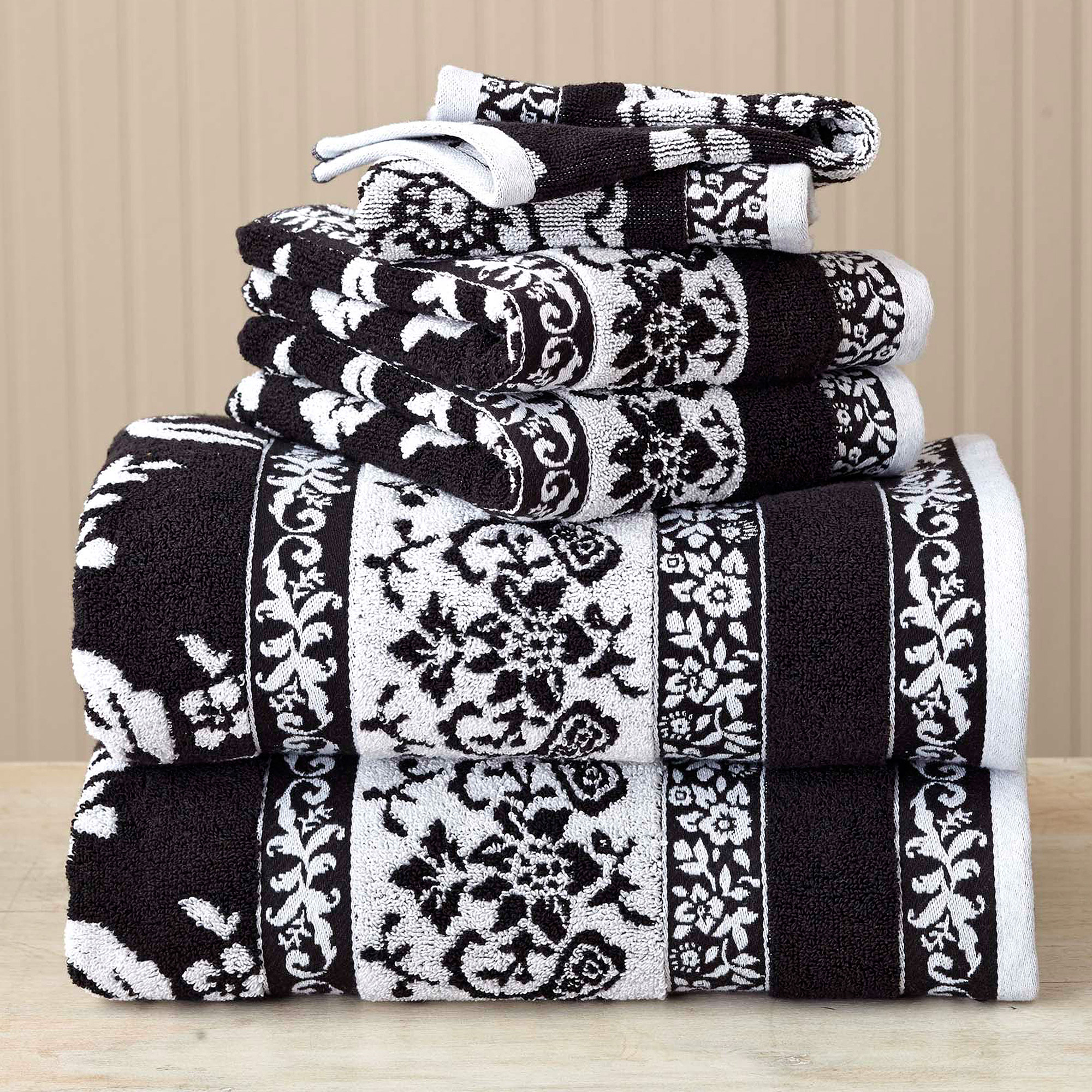 Better Homes and Gardens Thick and Plush 6-Piece Jacquard Cotton Bath Towel Set