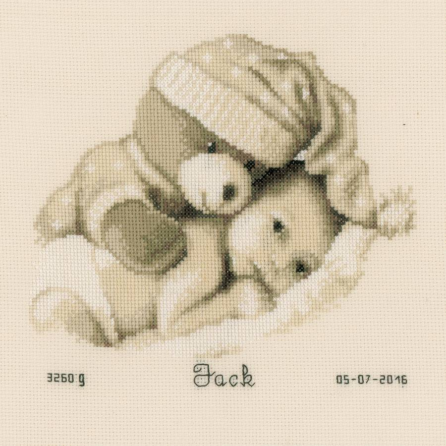 """Baby and Teddy Birth Record On Aida Counted Cross Stitch Kit, 8.75"""" x 8"""", 14-Count"""