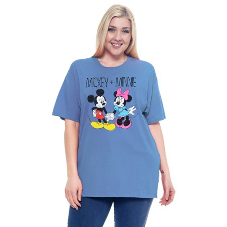 Women's Plus Size Mickey & Minnie Mouse Cotton T-Shirt Blue](Mickey Mouse Dress For Women)
