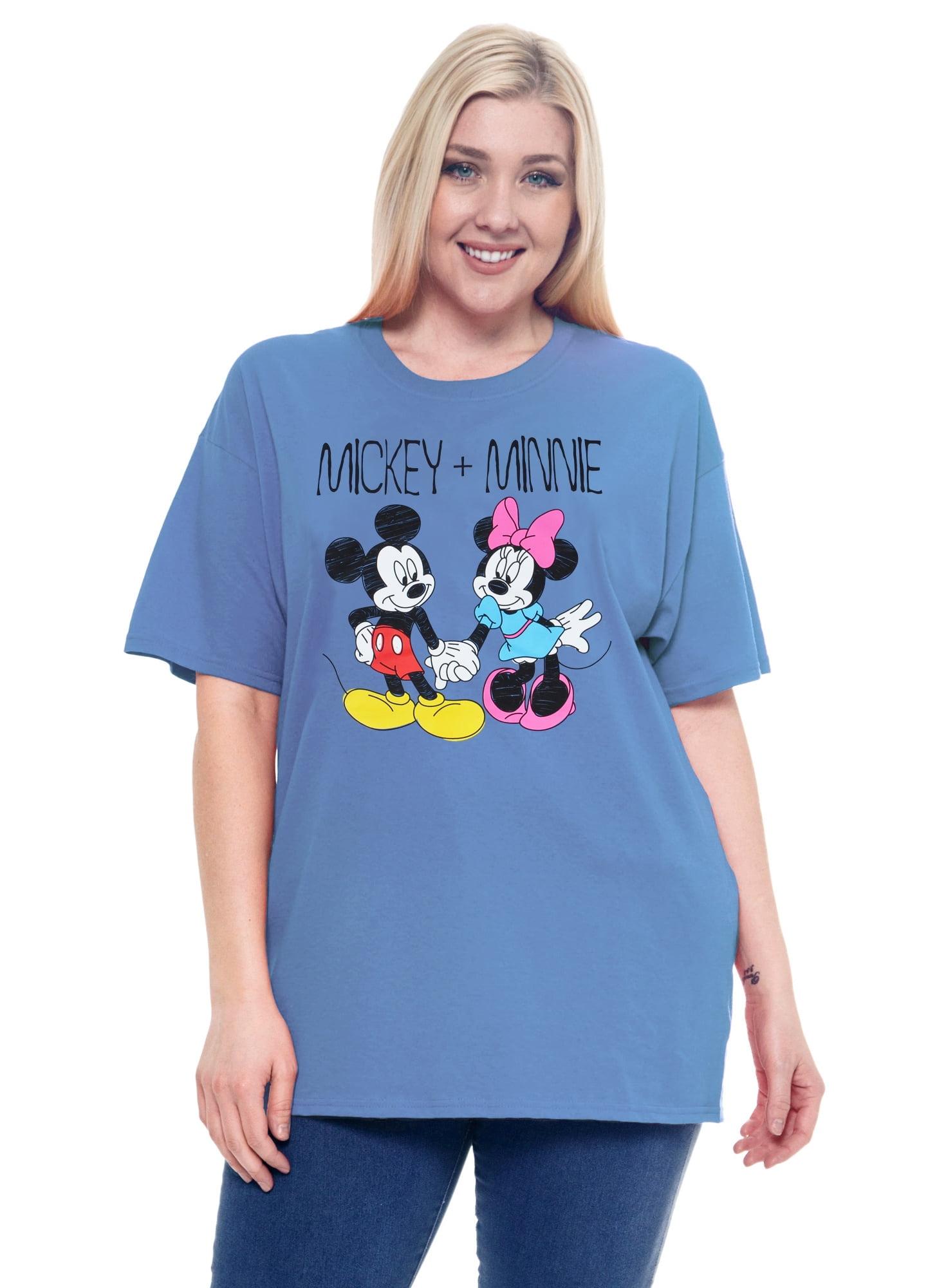 Women's Plus Size Mickey & Minnie Mouse Cotton T-Shirt Blue