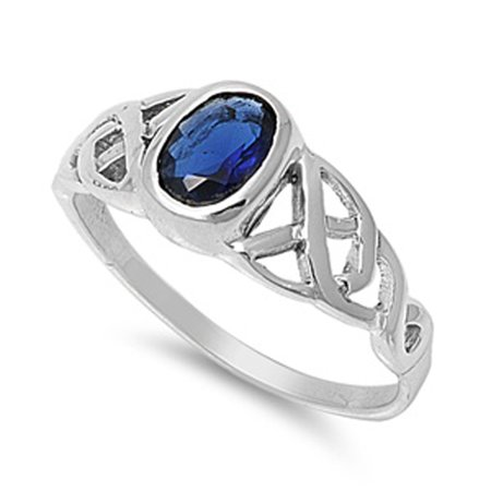 - Blue Simulated Sapphire Celtic Knot Criss Cross Ring ( Sizes 5 6 7 8 9 10 ) Sterling Silver Band Rings by Sac Silver (Size 6)