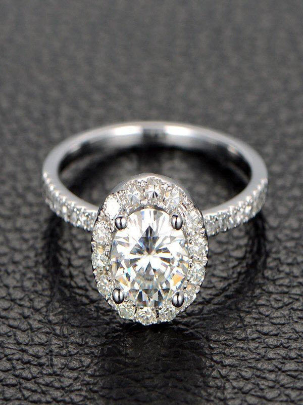 Limited Time Sale Half carat Antique design Halo Round Diamond Engagement Ring in 10k White Gold for Women by JeenJewels