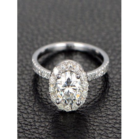 - Limited Time Sale Half carat Antique design Halo Round Diamond Engagement Ring in 10k White Gold for Women