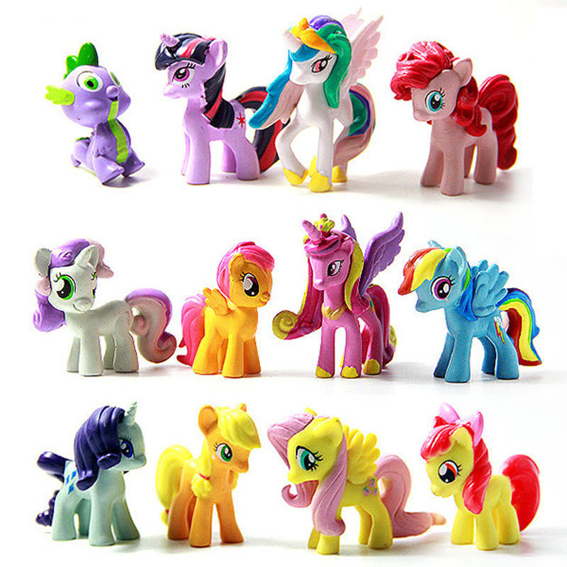 Set of 12 Pcs My Little Pony Cake Toppers PVC Action Figures Kids Girl Toy