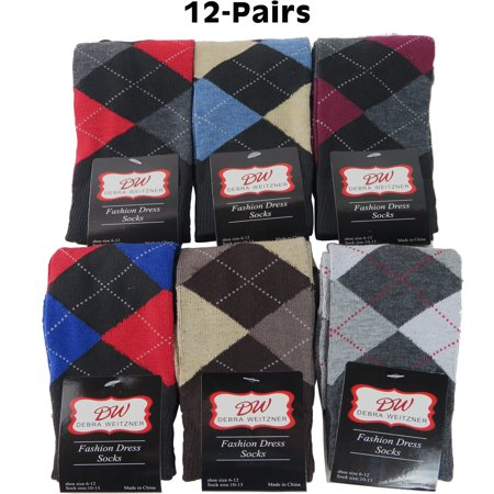 Debra Weitzner Mens Dress Socks With Classic Argyle Patterns - Cotton - Assorted Colors - Crew Length - Pack of 12 Pairs - Mens Pattern Dress Socks