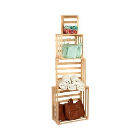 "Set of 4 Nesting Crates - 18"" - 15"" - 12"" - 9"" - Storage Crates"