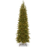 National Tree 7.5' Feel-Real Grande Fir Pencil Slim Hinged Tree with 350 Clear Lights