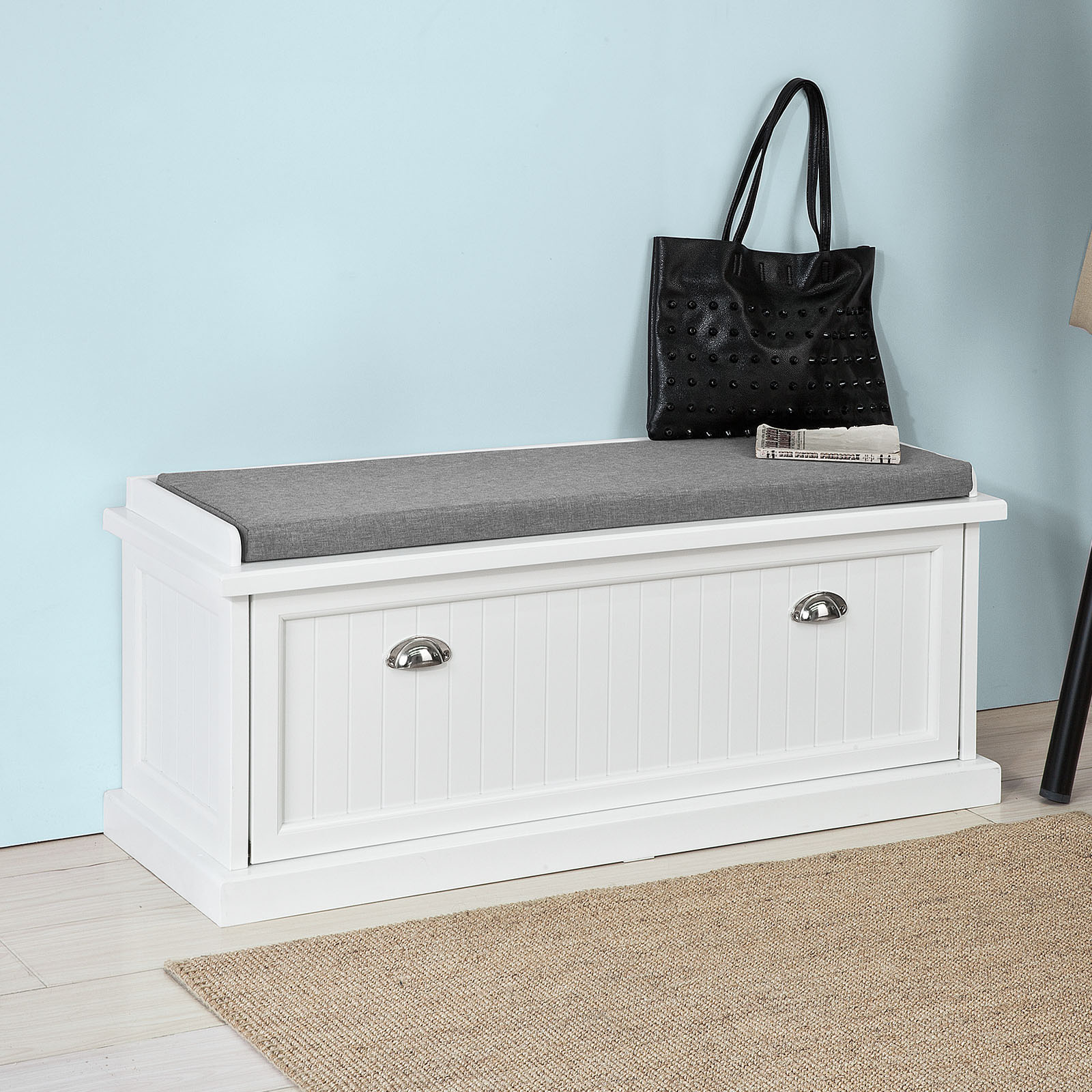 Beau Haotian FSR41 W, White Storage Bench With Removable Seat Cushion, Bench  With Storage