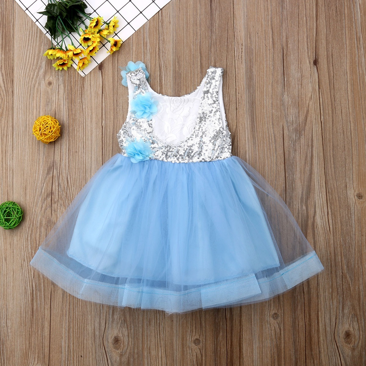 Flower Girl Kids Tutu Dress Sequins Princess Party Wedding Bridesmaid Tulle Gown