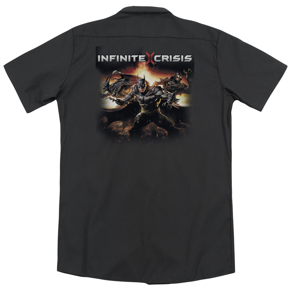 Infinite Crisis Batmen (Back Print) Mens Work Shirt