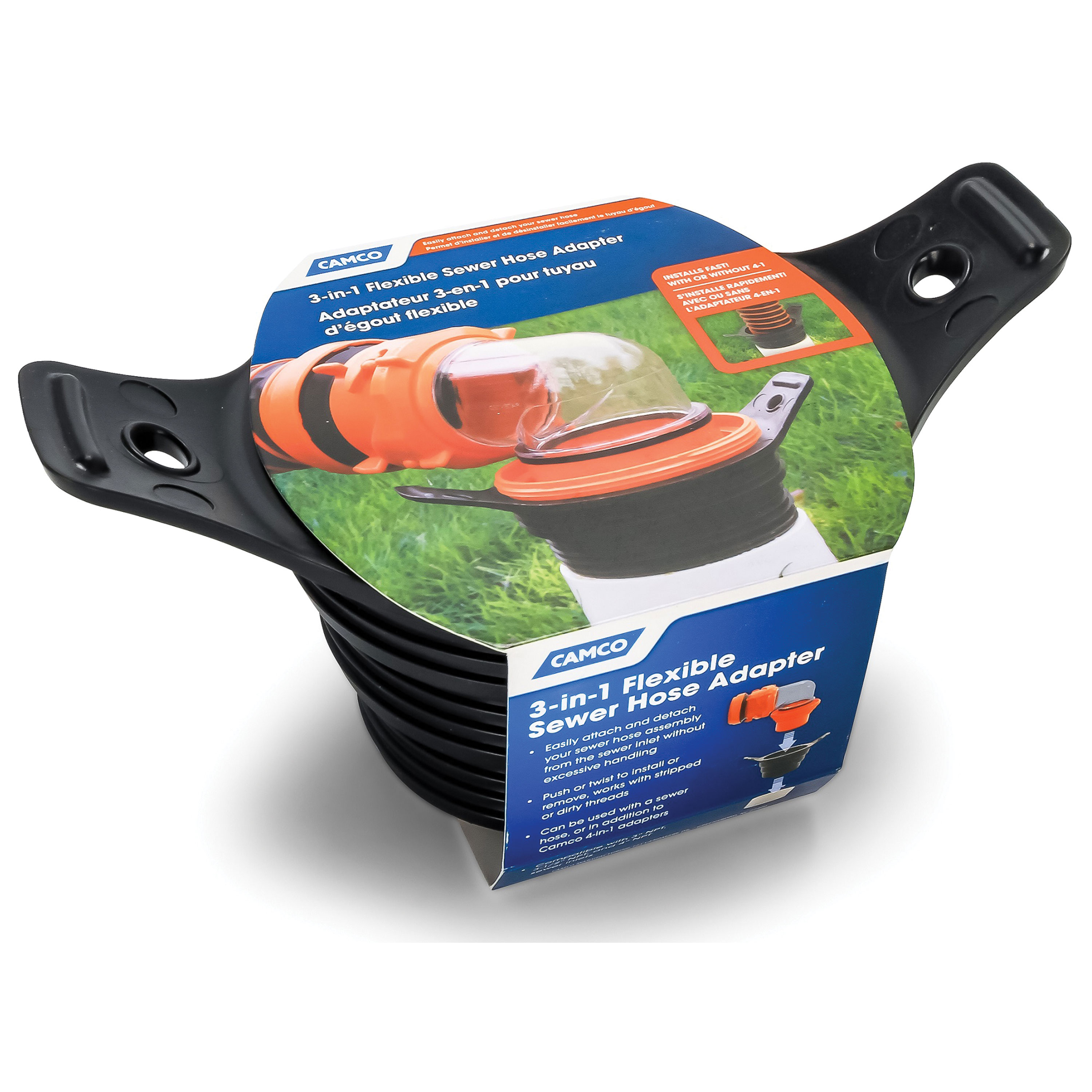 Camco 39318 Flexible 3-in-1 Sewer Hose Seal - Black