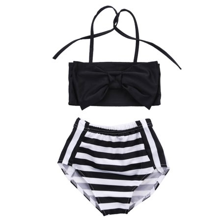 Girls Swim Coverup (2Pcs Baby Kids Girl Bowknot Bikini Set Swimwear Strappy Swimming Swimsuit Bathing Suit 2-3)