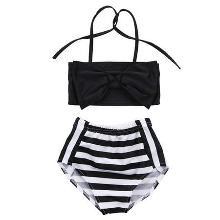 2Pcs Baby Kids Girl Bowknot Bikini Set Swimwear Strappy Swimming Swimsuit Bathing Suit 2-3 Years