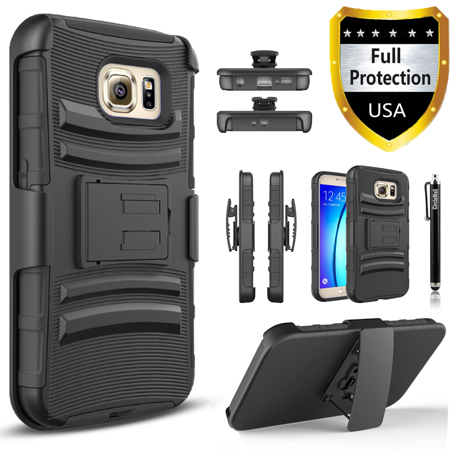 Galaxy S6 Edge Case, Dual Layers [Combo Holster] Case And Built-In Kickstand Bundled with Circlemalls Stylus Pen (Black)