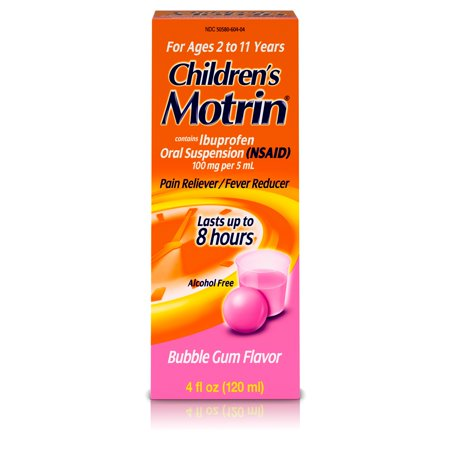 Children's Motrin Oral Suspension, Pain Relief, Ibuprofen, Bubble Gum Flavored, 4 -
