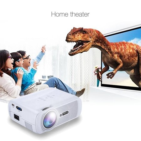 Irulu Mini Led Projector  800 480  Support 1080P For Full Hd Home Cinema Theater  130  Image With Optical Keystone  15  For Video  Movie  Game  Multiple Interface Hdmi Vga Usb Av Tv   White