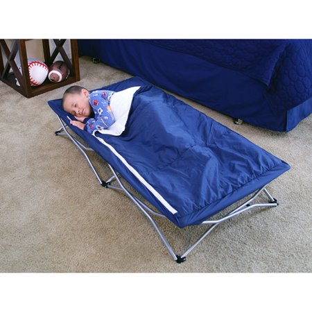 Regalo Deluxe My Cot Portable Toddler Bed Includes Sleeping Bag Travel Case Blue
