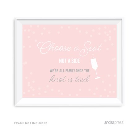 Choose A Seat, Not A Side Blush Pink and Gray Pop Fizz Clink Wedding Party Signs - Pop Fizz