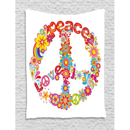 70s Party Decorations Tapestry, Peace Sign Colorful Flowers Rainbows Love  and Joy Festive Composition, Wall Hanging for Bedroom Living Room Dorm ...
