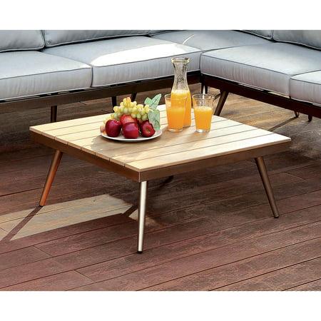 Furniture of America Monica Contemporary Patio Coffee Table, Champagne ()