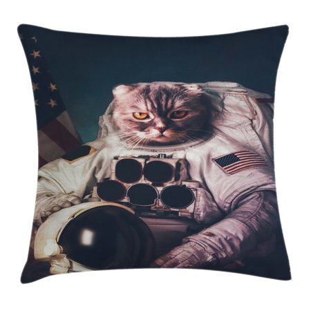 Space Cat Throw Pillow Cushion Cover, Vintage Image Astronaut Kitty with American Flag with Helmet Image, Decorative Square Accent Pillow Case, 24 X 24 Inches, White Red And Dark Blue, by Ambesonne