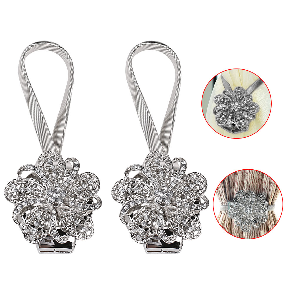 2PCS Rhinestone Flower Magnetic Curtain Clip Tiebacks Buckle Retractable Curtain Buckle