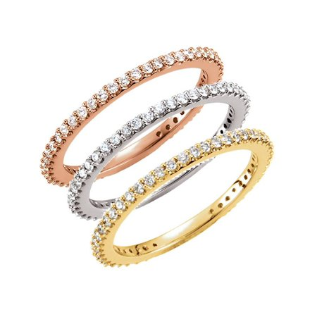 - 1/3ct Diamond Eternity Ring Available in 14k White, Yellow or Rose Gold