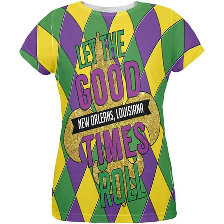 Mardi Gras Let the Good Times Roll Jester All Over Womens T Shirt](Mardi Gras Fashions For This Year)