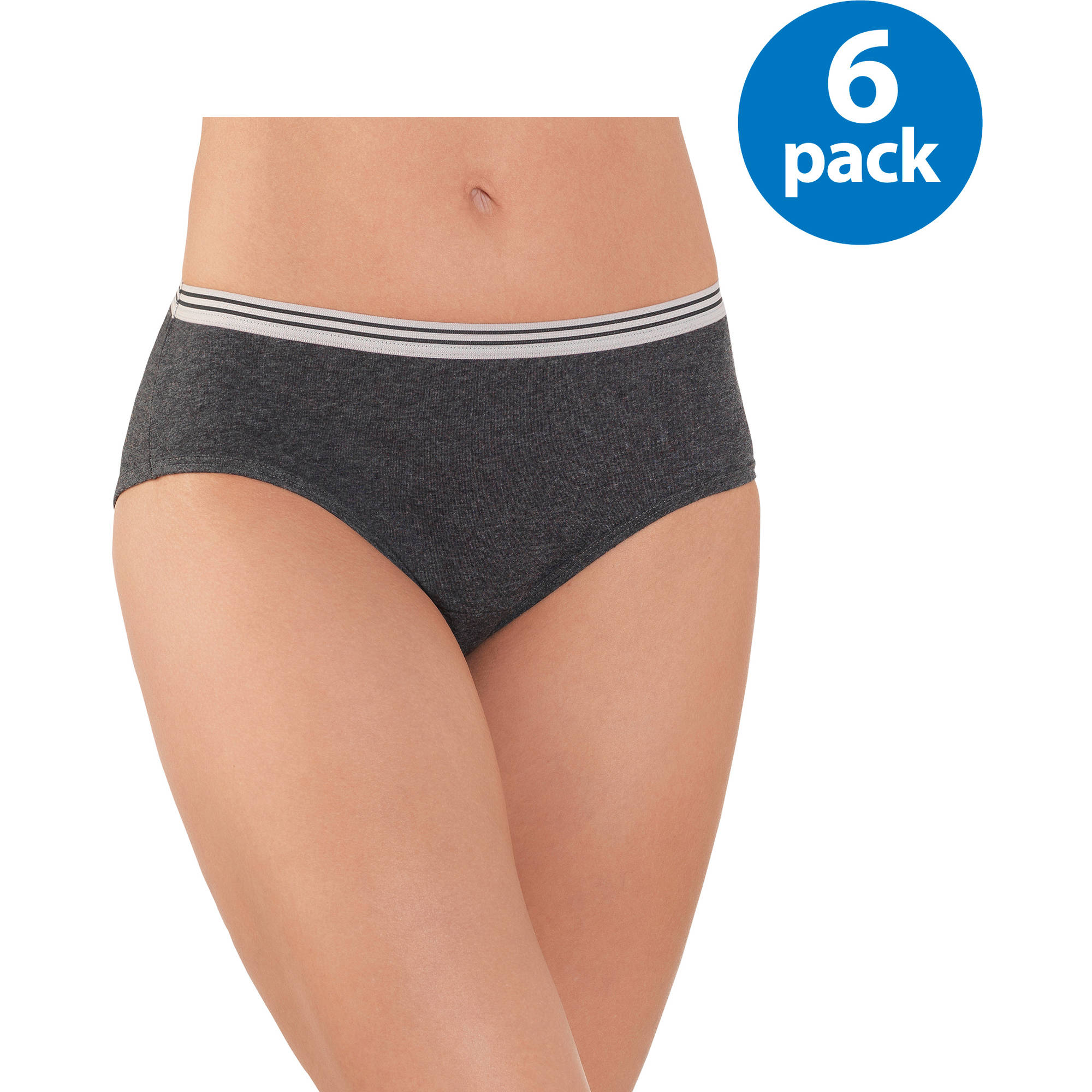 Fruit of the Loom Ladies' 6pk Heather Low Rise Briefs