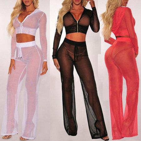 Women Sheer Mesh Bikini Crop Top+Pants Cover Up Long Sleeve Swimwear Beach (Best Winter Cover Crop)