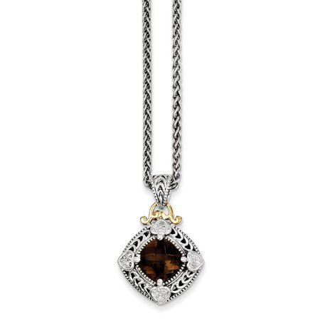 Roy Rose Jewelry Shey Couture Collection Sterling Silver with 14K Yellow Gold Diamond & Smoky Quartz Necklace 18