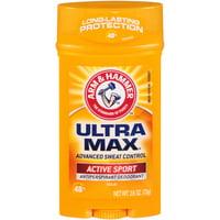 ARM & HAMMER ULTRA MAX Solid AntiPerspirant Deodorant, Active Sport, 2.6 oz.