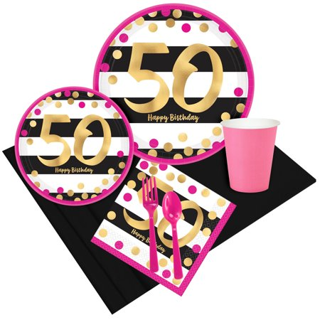 Pink Gold 50th Birthday Party Pack For 8