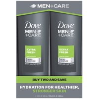 Dove Men+Care Extra Fresh Body and Face Wash 18 oz, 2 Count