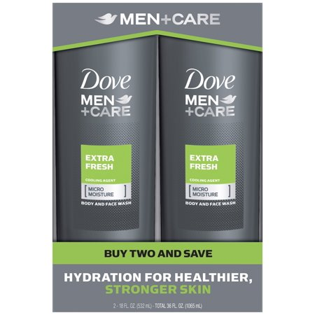 Dove Men+Care Body and Face Wash Extra Fresh 18 oz, Twin Pack (Dove Facial Wash)