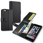 "iPhone 6 Plus 6S Plus Case, by Insten Leather Flip Money Wallet Case with Credit Card Slot For Apple iphone 6 Plus / 6S Plus 5.5"" Black"