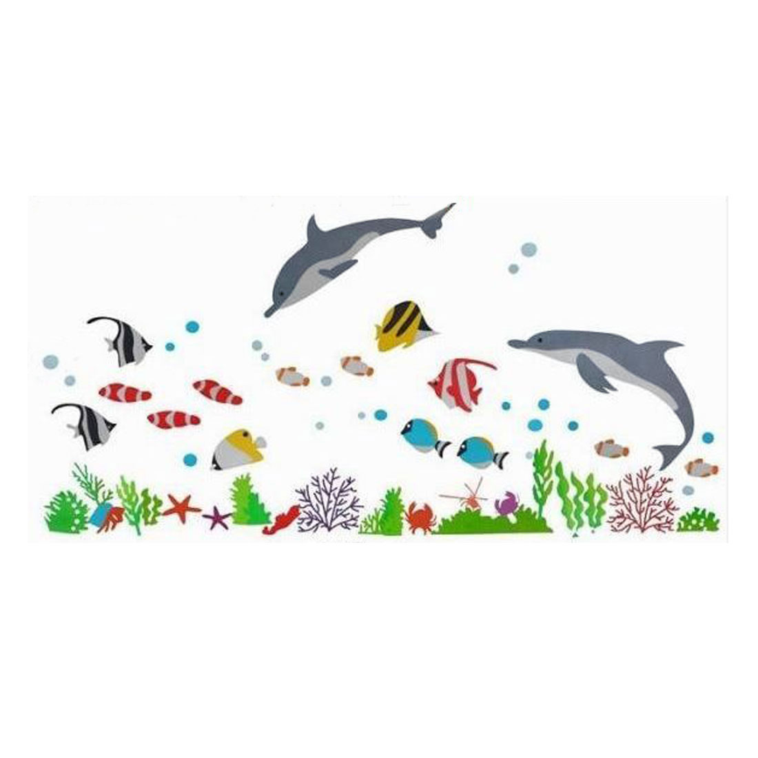 Unique Bargains Home Room Dolphin Fish Pattern Removable Wall Sticker DIY Decal Decor