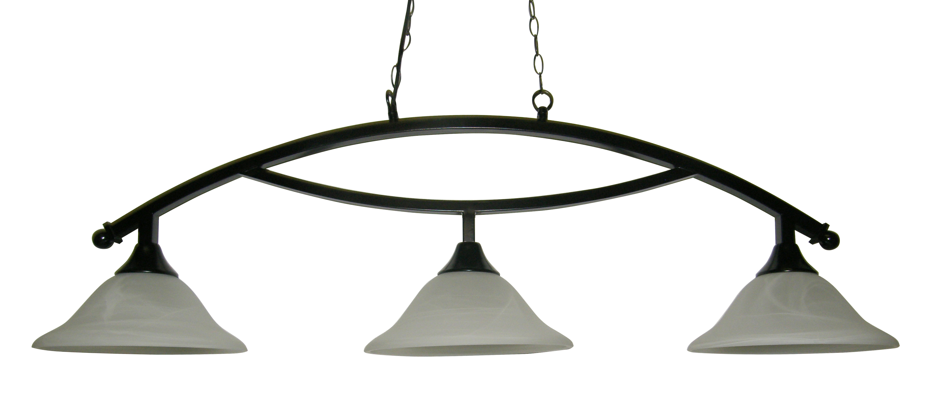 "50"" Black Metal Arch Style Pool Table Light Lamp With White Glass Shades by Iszy Billiards"