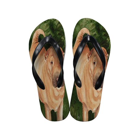 Chinese Thong Sandals - KuzmarK Flip Flop Thong Sandals Unisex - Annie on Green Cream Chinese Shar-Pei Dog Art by Denise Every
