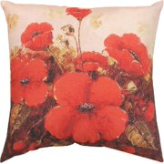"""Garden Red Poppies, CLIMAWEAVE Indoor/Outdoor Pillow, 18"""" x 18"""", by Manual"""