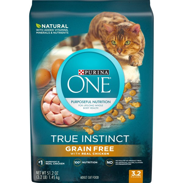 Purina One Natural High Protein Grain Free Dry Cat Food True Instinct With Real Chicken 3 2 Lb Bag Walmart Com Walmart Com
