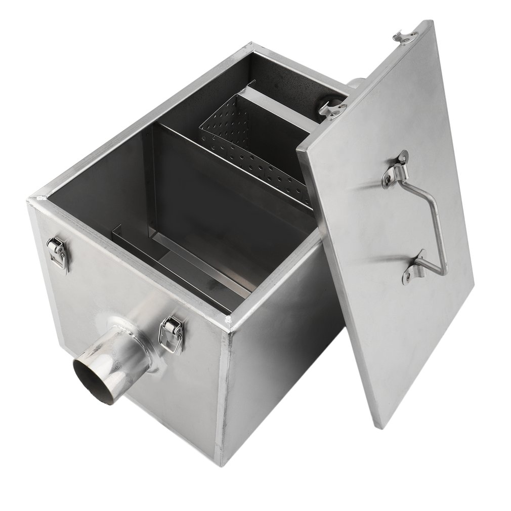 Commercial Grease Trap 8Lbs 5Gpm Gallons Per Minute Stainless Steel Interceptor For Restaurant Kitchen