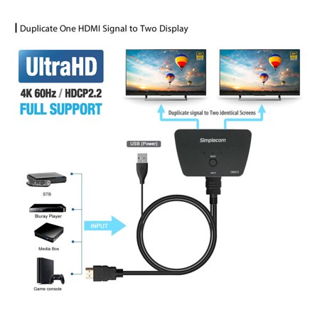 HYFAI 2 POTR 1x2 HDMI 2 0 4Kx2K @60HZ SPLITTER with 2 set HDMI cable