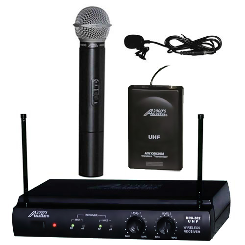 Audio2000s 6032UL UHF Wireless Microphone Handheld & Lavalier by