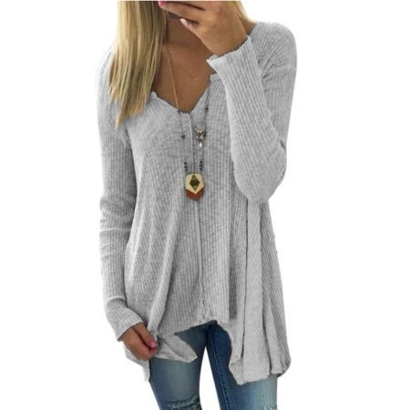 Women's Large Size Knit Pullover Fashion Tops Long Sleeve Cotton Fabric T-Shirt Plus (Sleeved Dual Fabric)