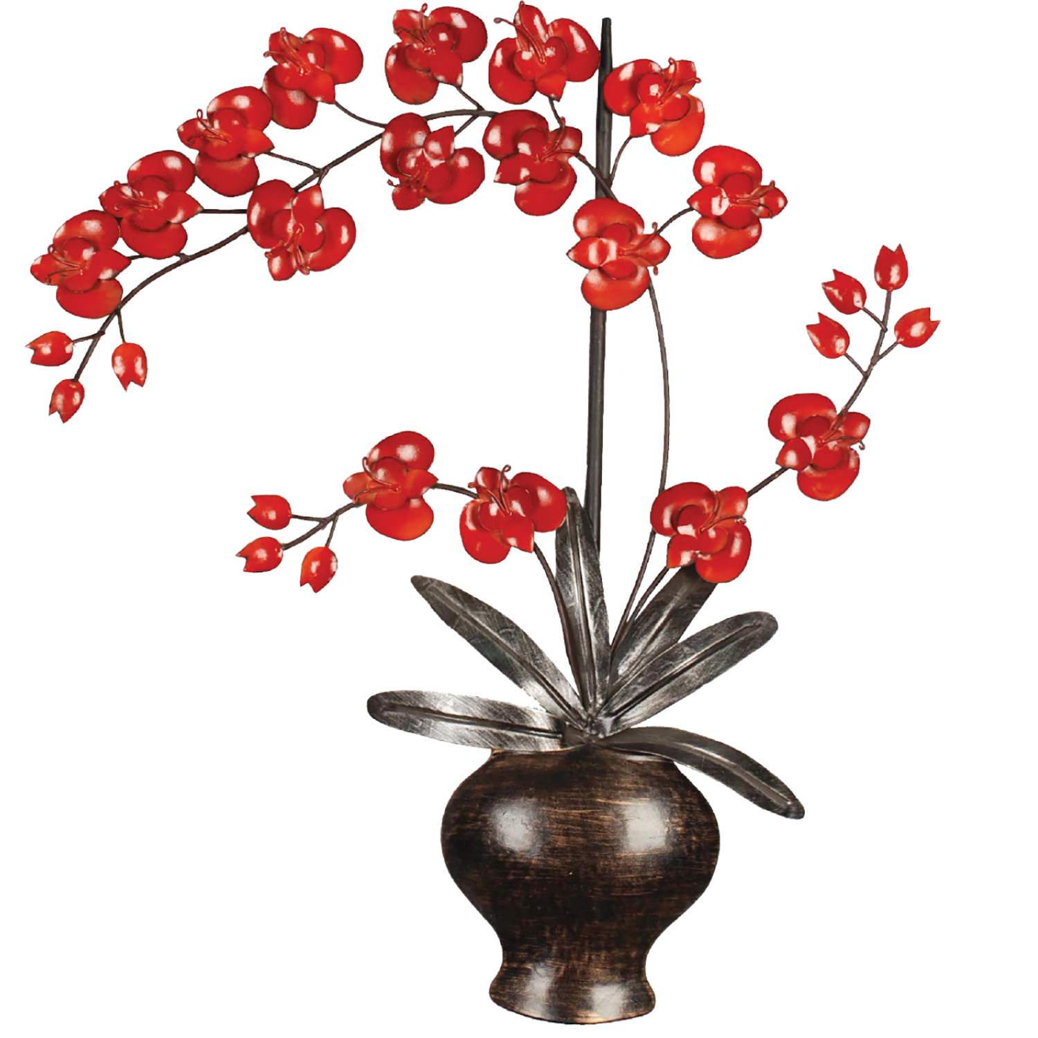 Home Source Faux Vase with Red Flowers