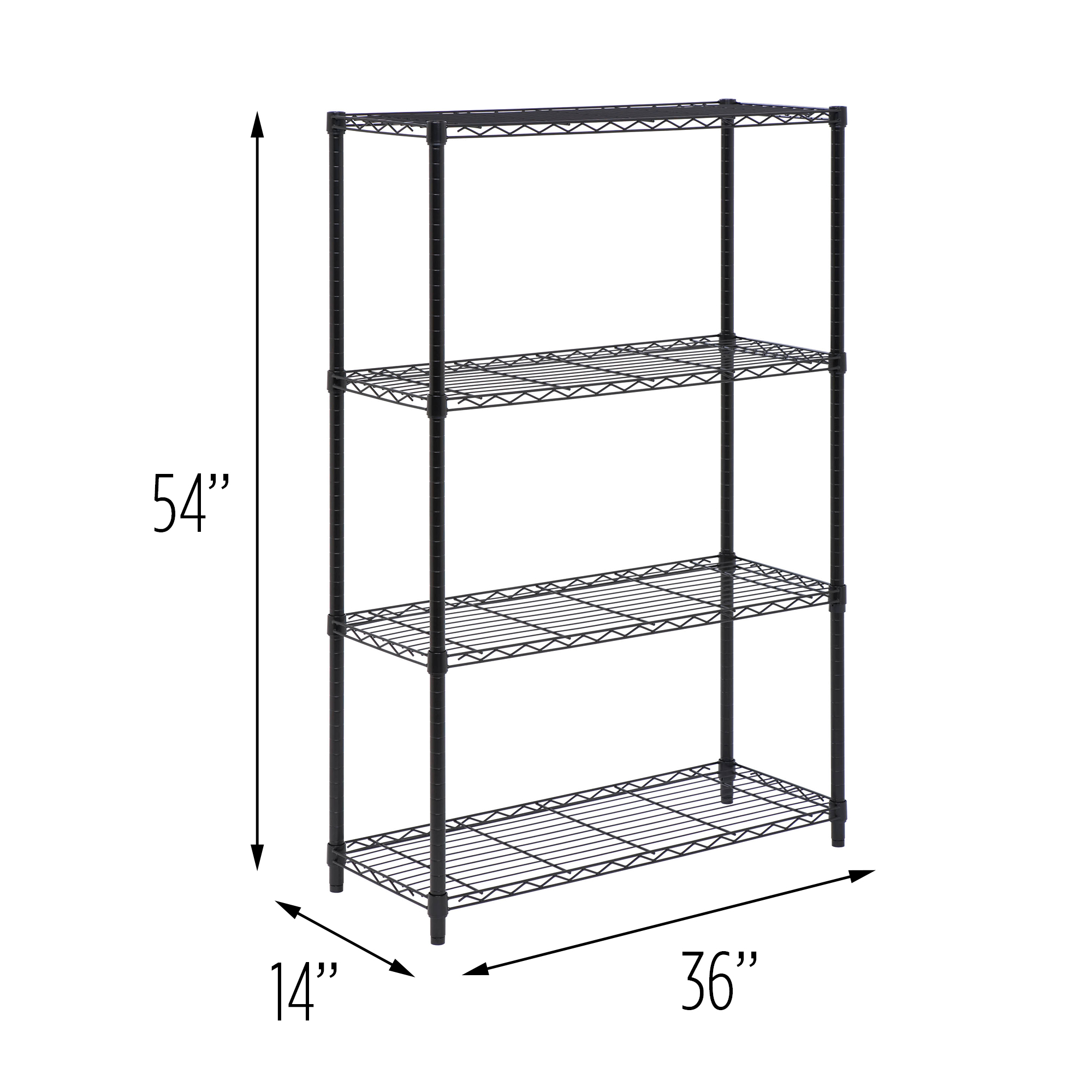 Honey Can Do 4-Tier Adjustable Shelving Unit with 250-lb Shelf Capacity