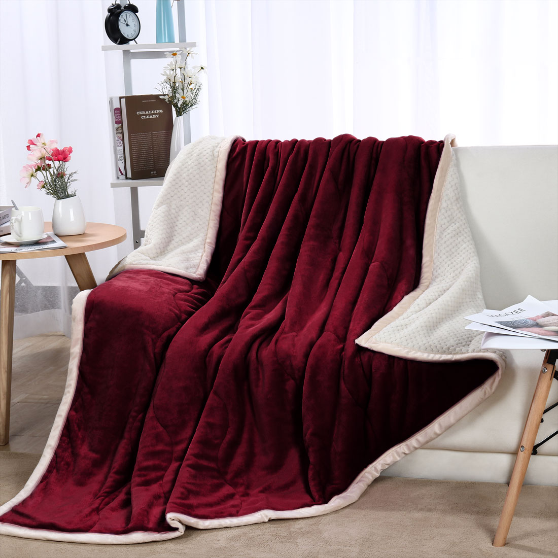 "Reversible 3 Layers Wave Line Thick Fleece Bed Blanket Full 70"" x 78"" Burgundy"