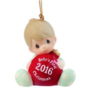 """, Christmas Gifts, """"Baby's First Christmas 2016"""", Baby Boy, Bisque Porcelain Ornament, #161006 By Precious Moments"""