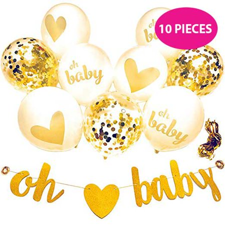 Baby Gender Reveal Party Ideas (Gold Baby Shower Decorations, Hawwwy Neutral Baby Shower 10 Piece (9 Balloons 1 Banner) Gender Reveal Party Decorations, Balloons Confetti, Announcement Party, Oh Baby Girl Boy Yellow Glitter)